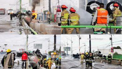 Photo of Muere conductor tras volcar e incendiarse una pipa en la México Pachuca