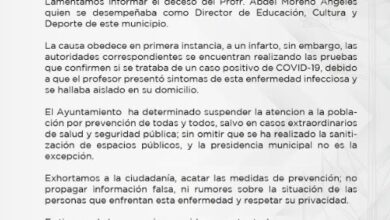 Photo of Muere funcionario de Santiago de Anaya por Covid-19