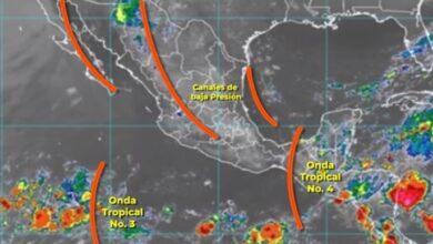 Photo of Hoy, la Onda Tropical 4 y 2 canales de baja presión causarán lluvias en gran parte de México